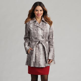 Via Spiga Women's Python Snakeskin-print Belted Trench Coat