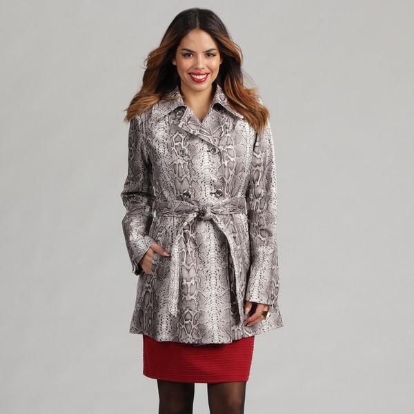 Via Spiga Women's Python Snakeskin-print Belted Trench Coat