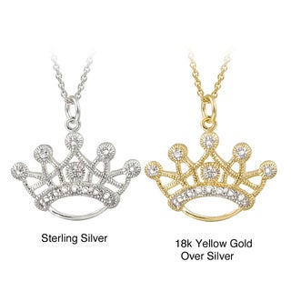 18-inch Diamond Accent Highly Polished Crown-shaped Necklace