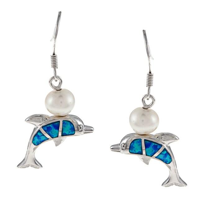 La Preciosa Sterling Silver Created Blue Opal and Pearl D...