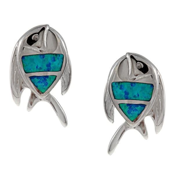 La Preciosa Sterling Silver Created Blue Opal Fish Earrings