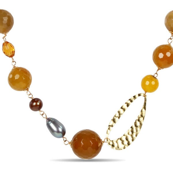 Miadora  Sterling Silver FW Pearl and Gemstone 30-inch Necklace (9-11 mm)