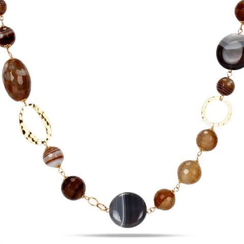 Miadora Sterling Silver Multi-colored Agate 26-inch Fashion Necklace