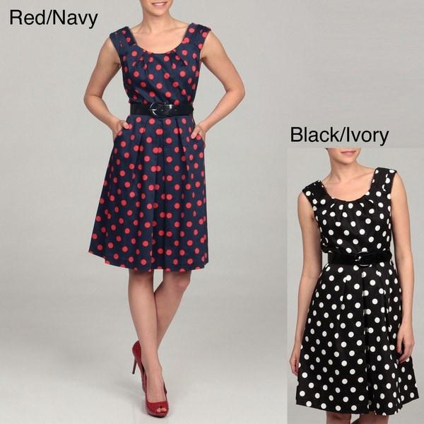 Chetta B Women's Polka Dot Belted Dress