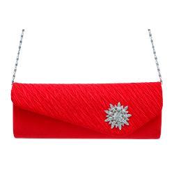 Dasein Women's Pleated Satin Rhinestone Evening Bag - Thumbnail 1