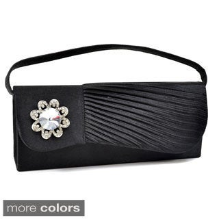 Dasein Pleated Rhinestone Clutch (Option: Purple)