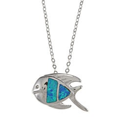 La Preciosa Sterling Silver Created Opal Flat Necklace
