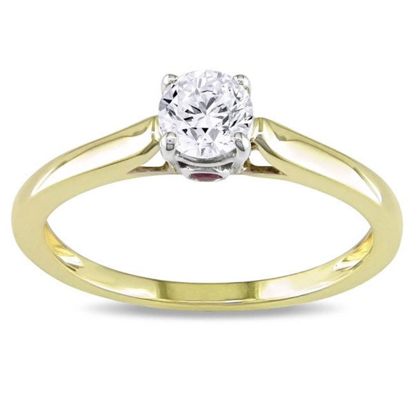 Miadora Signature Collection L'Amour Enrose by 10k Gold 1/2ct TDW Diamond and Pink Sapphire Solitaire Engagement Ring (G-