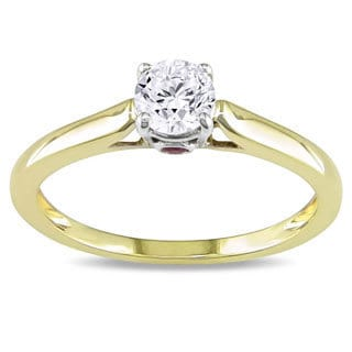 Miadora Signature Collection L'Amour Enrose by 10k Gold 1/2ct TDW Diamond and Pink Sapphire Solitair