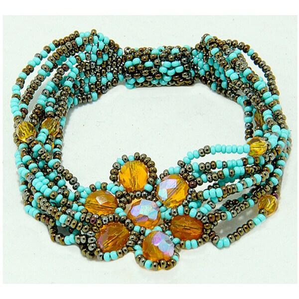 Handmade Teal and Yellow Glass Bead Magnetic Flower Bracelet (Guatemala)