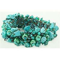 Handmade Turquoise-Chip and Glass-Bead Capullo Bracelet (Guatemala)