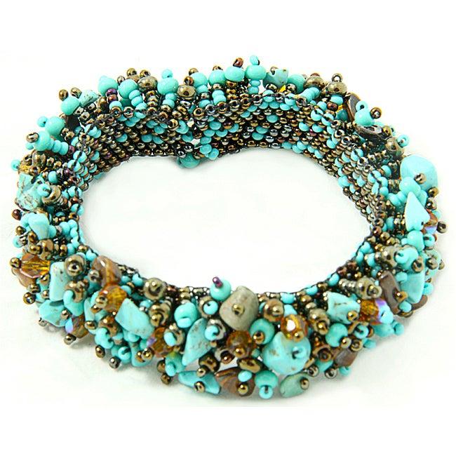 Turquoise and Glass Bead 'Mocha' Capullo Bracelet (Guatemala)