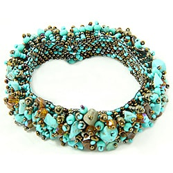 Turquoise and Glass Bead 'Mocha' Capullo Bracelet (Guatemala)