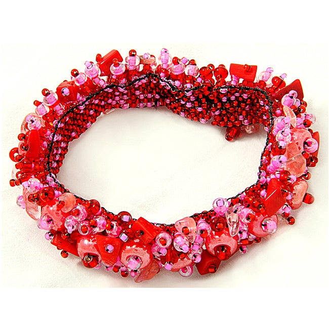 Coral and Crystal Capullo Bead Bracelet (Guatemala)