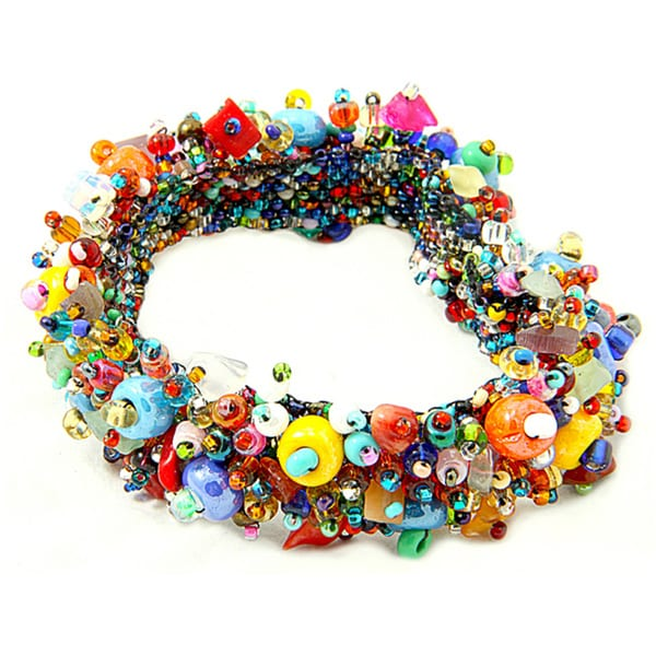 Handmade Coral and Crystal Capullo Multicolored Bead Bracelet (Guatemala)