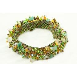 Handmade Tiger's Eye and Glass Bead Capullo Bracelet (Guatemala)