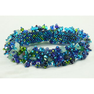 Handmade Crystal Capullo 'Royal Seafoam' Bead Bracelet (Guatemala)