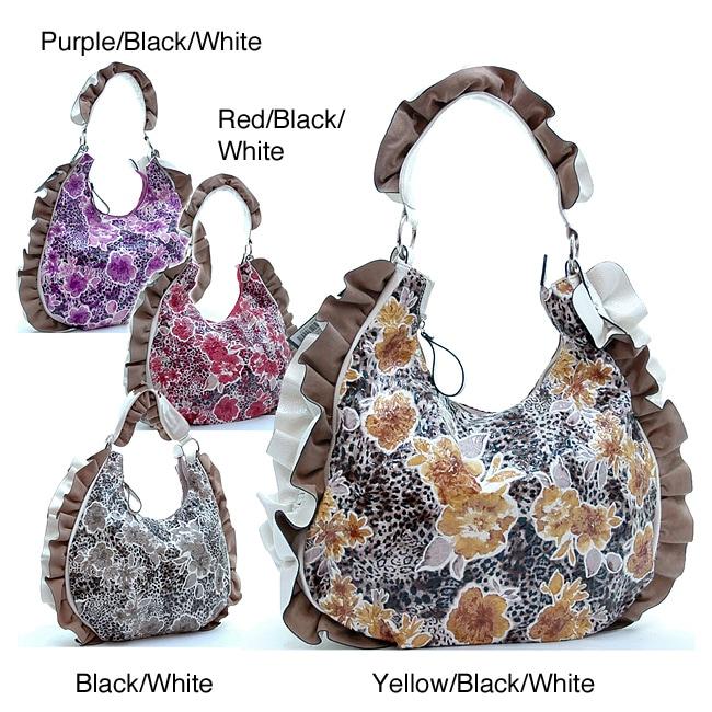 Dasein Floral Print Ruffled Hobo Bag