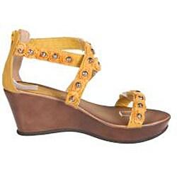 Refresh by Beston Women's 'Summer-02' Yellow Wedge Sandal - Thumbnail 1
