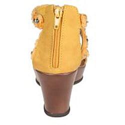 Refresh by Beston Women's 'Summer-02' Yellow Wedge Sandal - Thumbnail 2