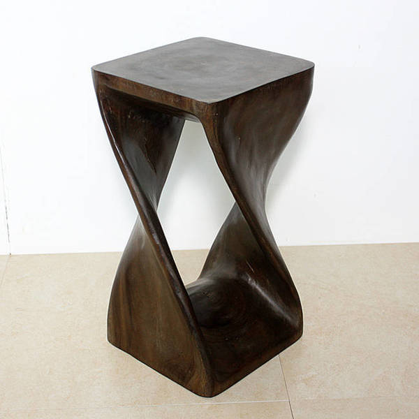 12 Inches Square x 23-inch Wood Mocha Oil Twist Stool (Thailand)