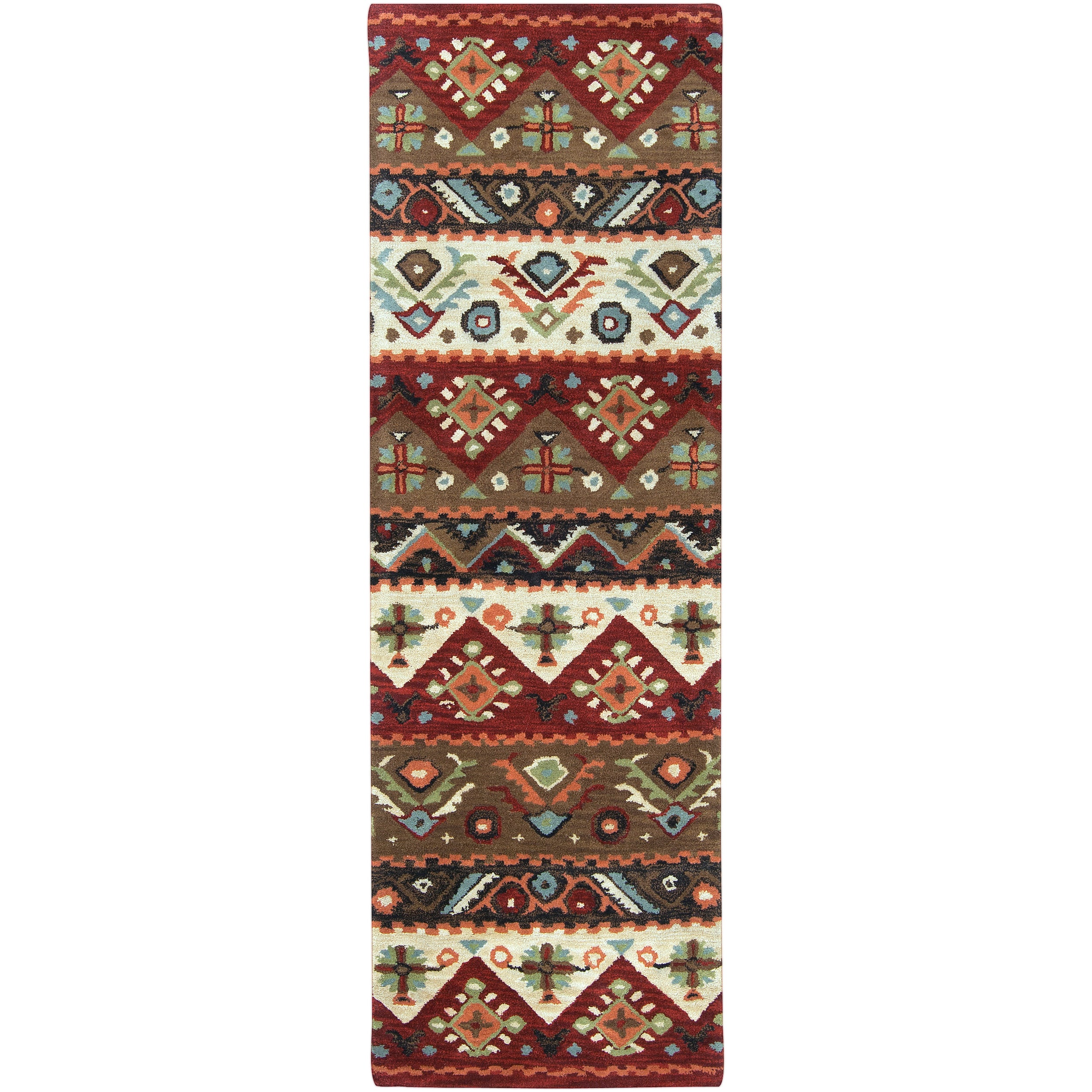 Hand-tufted Red Southwestern Aztec Portuy New Zealand Wool Rug (2'6 x 8')