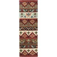 Hand-tufted Red Southwestern Aztec Portuy New Zealand Wool Area Rug (2'6 x 8')