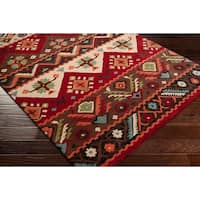 """Hand-tufted Red Southwestern Aztec Portuy New Zealand Wool Area Rug - 2'6"""" x 8'"""