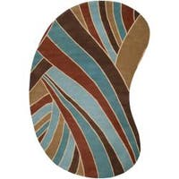 Hand-tufted Contemporary Blue Striped Maylan Wool Area Rug (8' x 10' Kidney) - 8' x 10'