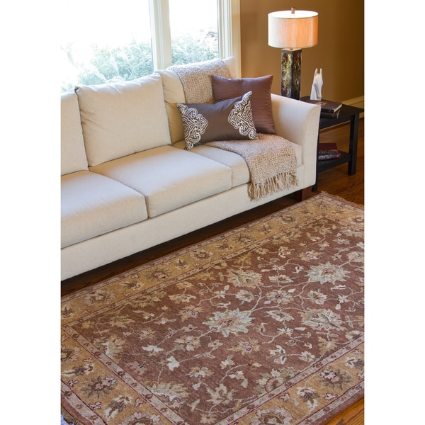 Hand-knotted Brown Estate Hand-spun New Zealand Wool Area Rug - 2' x 3'