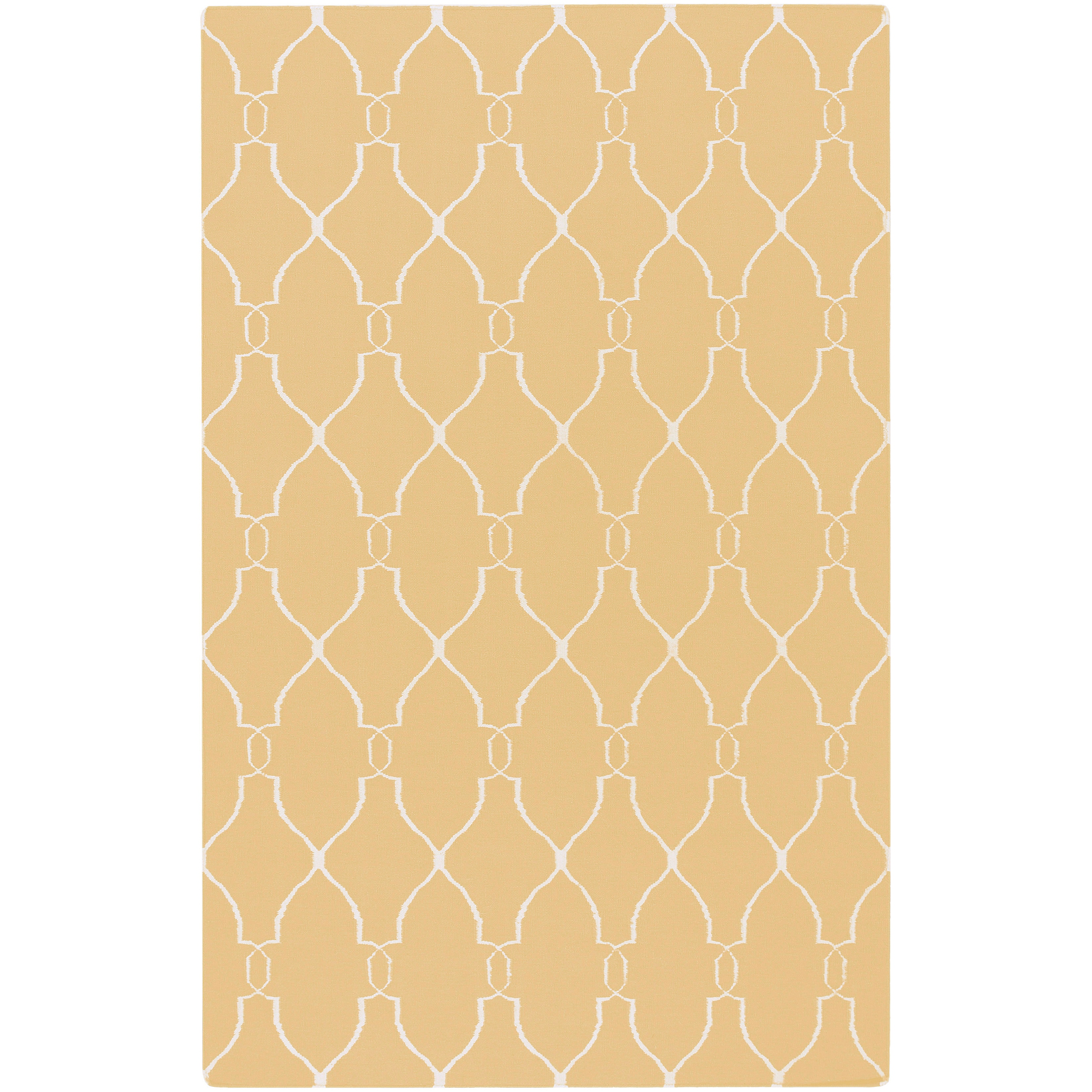 Hand-woven Min Sunflower Yellow Flatweave Wool Rug (3'6 x 5'6)