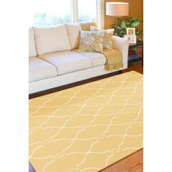 Hand-woven Min Sunflower Yellow Flatweave Wool Rug (3'6 x 5'6) - Thumbnail 1