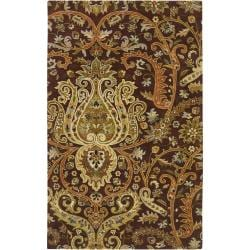 Hand-tufted Chocolate Crested Semi-Worsted New Zealand Wool Rug (3'3 x 5'3)