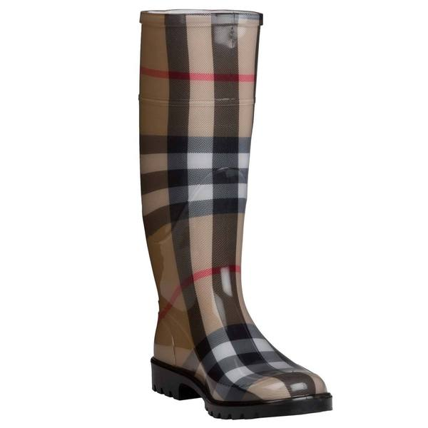 Burberry Women's Beige House-check Rubber Rain Boots
