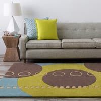 Hand-tufted Contemporary Multi Colored Geometric Circles Sundanese Wool Abstract Area Rug - 6' x 9'