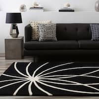 Hand-tufted Contemporary Black/White Hakka Wool Abstract Area Rug - 8' x 8'