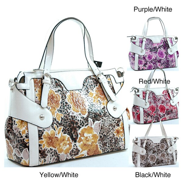 Dasein Leopard/ Floral Print Tote Bag