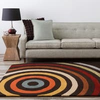 Hand-tufted Black Contemporary Multi Colored Circles Oromo Wool Geometric Area Rug (9' x 12') - 9' x 12'
