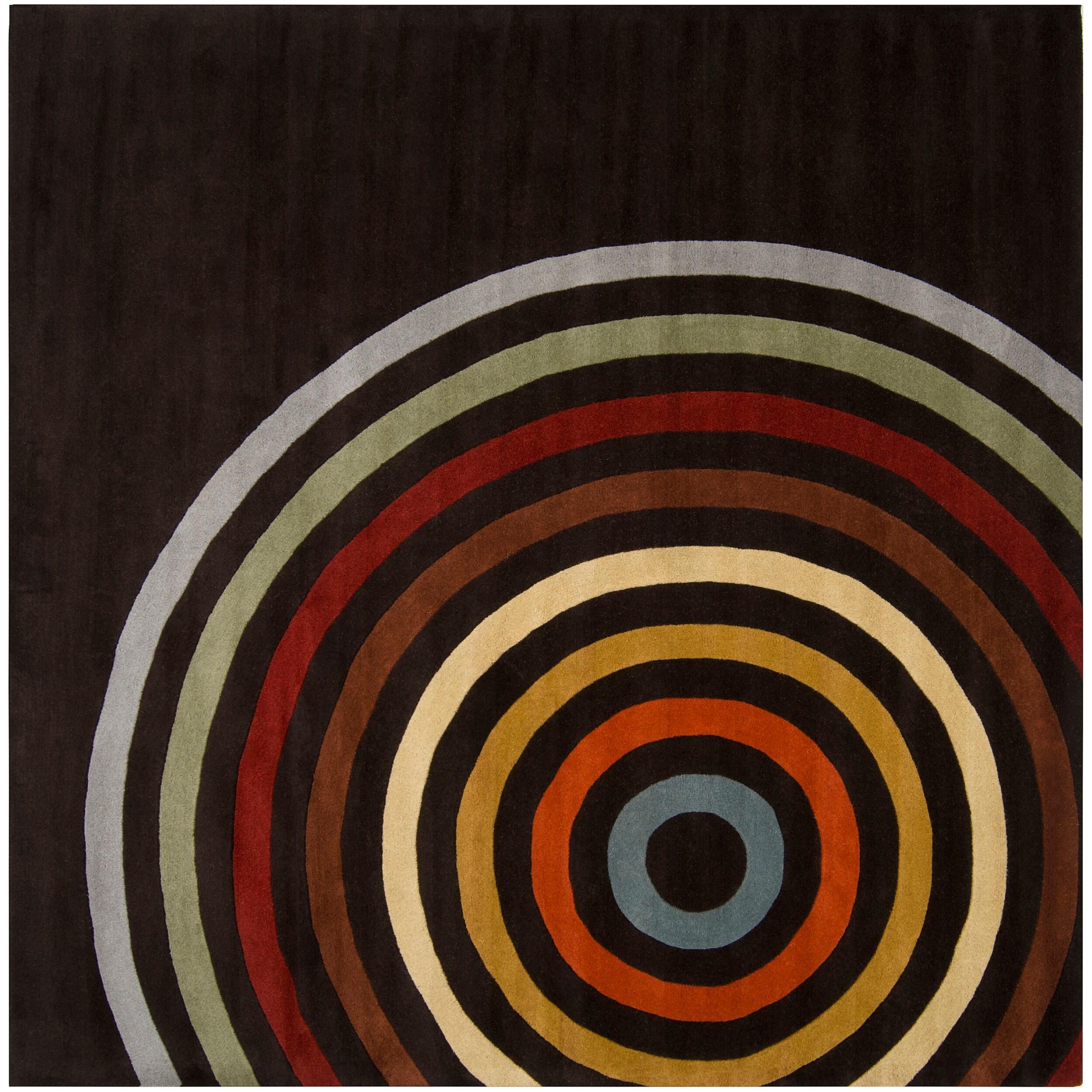 Hand-tufted Black Contemporary Multi Colored Circles Oromo Wool Geometric Rug (9'9 Square)