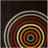 Hand-tufted Black Contemporary Multi Colored Circles Oromo Wool Geometric Area Rug - 9'9 x 9'9