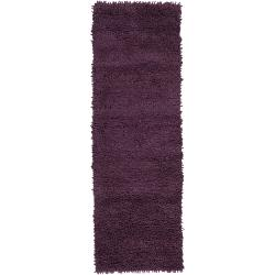 Hand-woven Purple Magallanic Colorful Plush Shag New Zealand Felted Wool Rug (4' x 10')