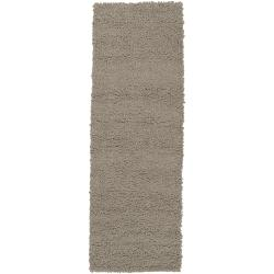 Hand-woven Beige Patas Colorful Plush Shag New Zealand Felted Wool Rug (2'6 x 8')