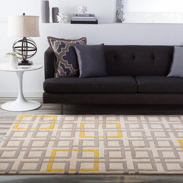 Hand-tufted Contemporary Geometric Beige Colobus New Zealand Wool Abstract Area Rug - 9' x 13'