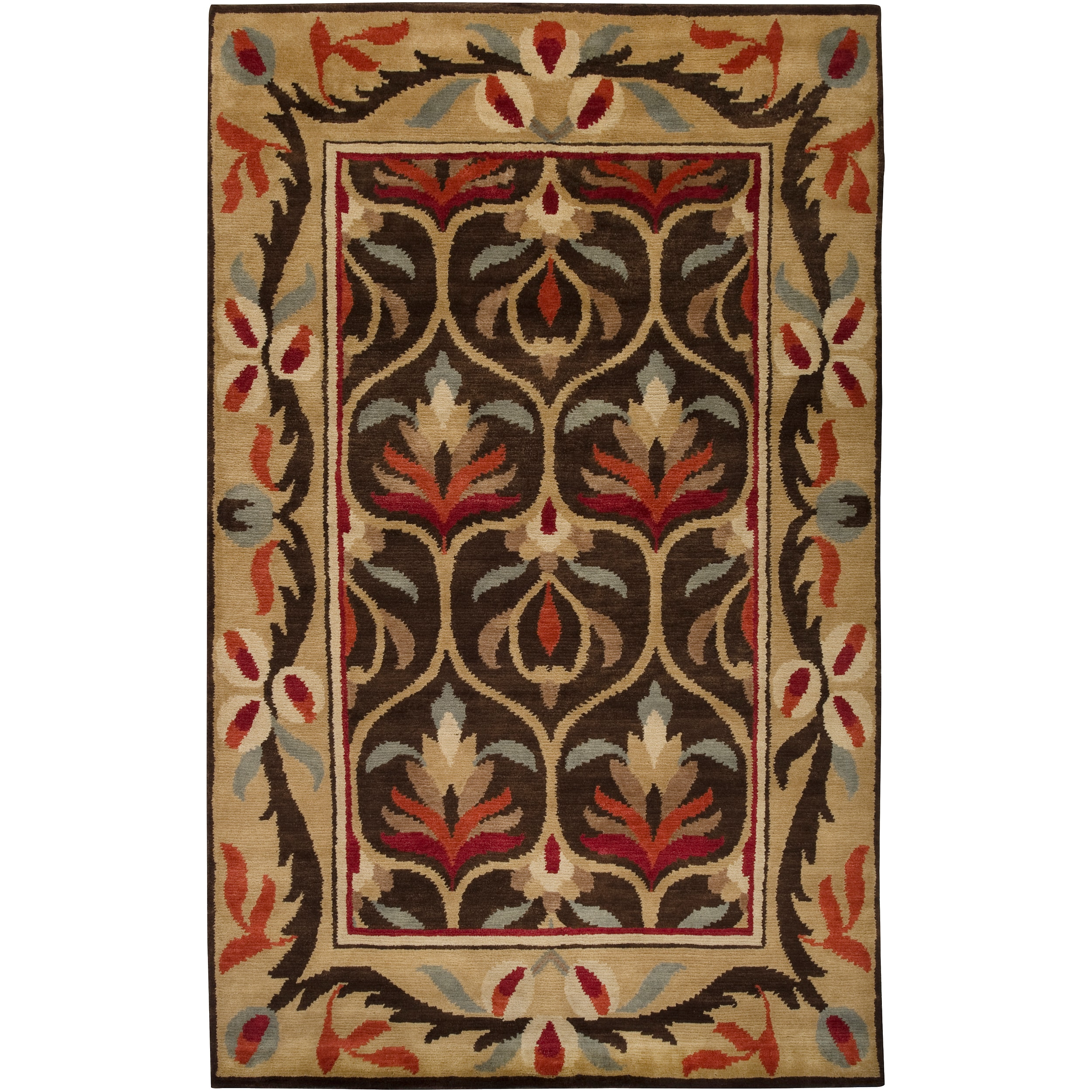 Hand-knotted Multi Colored Floral Mandrill New Zealand Wool Rug (5' x 8')