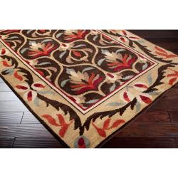 Hand-knotted Multi Colored Floral Mandrill New Zealand Wool Rug (5' x 8') - Thumbnail 1