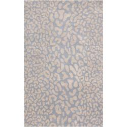 Hand-tufted Pale Blue Leopard Pygmy Animal Print Wool Rug (7'6 x 9'6)