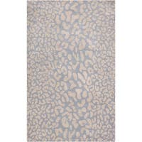 Hand-tufted Pale Blue Leopard Pygmy Animal Print Wool Area Rug - 7'6 x 9'6