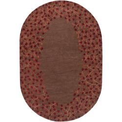 Hand-tufted Chocolate Marmoset Wool Rug (6' x 9' Oval)