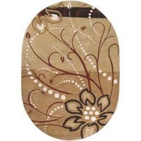 Hand-tufted Beige Capuchin Floral Wool Area Rug (6' x 9' Oval)