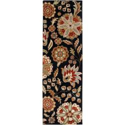 Hand-tufted Black Tamarin Wool Rug (2'6 x 8')